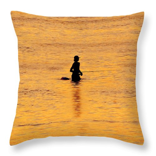 Fishing Throw Pillow featuring the photograph The Son Of A Fisherman by David Lee Thompson