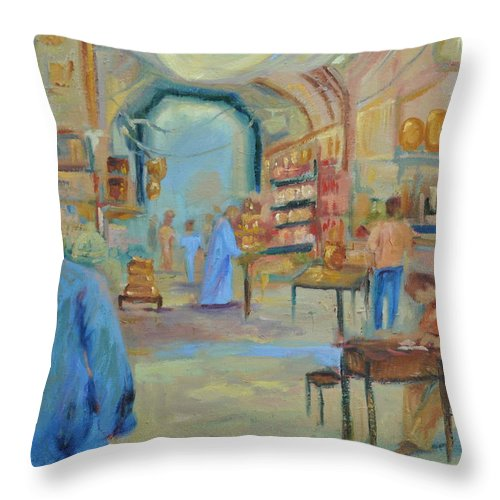 Figurative Throw Pillow featuring the painting The Souk by Ginger Concepcion