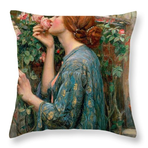 The Throw Pillow featuring the painting The Soul Of The Rose by John William Waterhouse