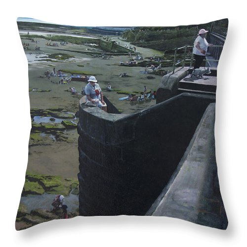 Britain Throw Pillow featuring the painting The South Bay In Scarborough. by Harry Robertson