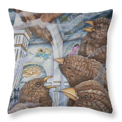 Birds Throw Pillow featuring the painting The Sparrows Of San Elizario by Jeniffer Stapher-Thomas