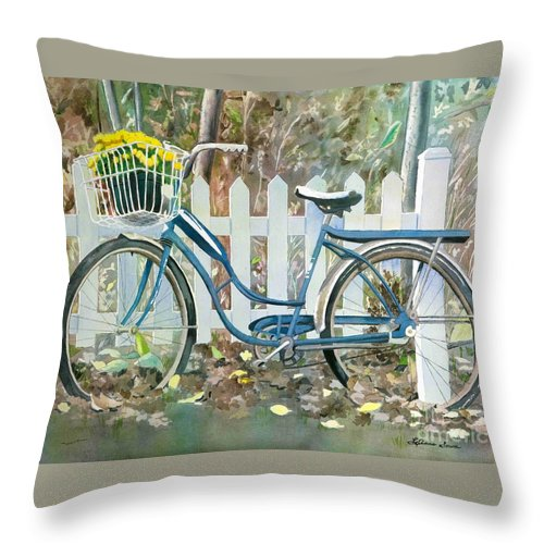 Cyclists Throw Pillow featuring the painting The Special Delivery by LeAnne Sowa