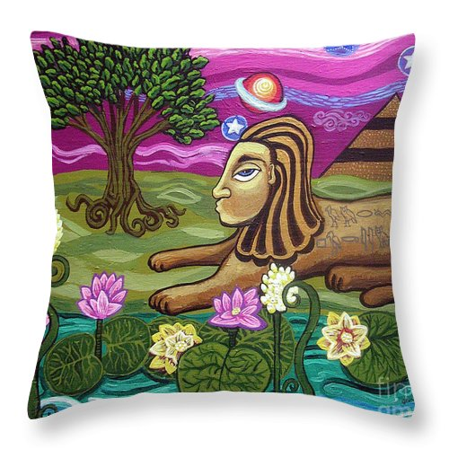 Egypt Throw Pillow featuring the painting The Sphinx by Genevieve Esson
