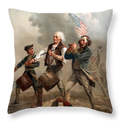 Yankee Doodle Throw Pillow featuring the painting The Spirit Of '76 by War Is Hell Store