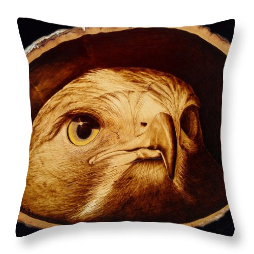 Woodburning; Pyrogrography; Sepia; Hawk; Bird Of Prey; Nature; Bird; Beak; Talon Throw Pillow featuring the pyrography The Spotter by Jo Schwartz