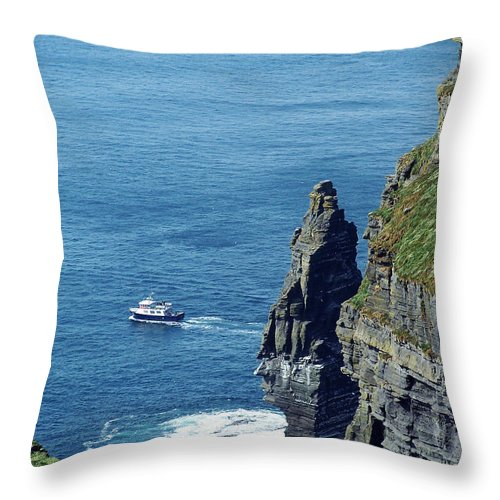 Irish Throw Pillow featuring the photograph The Stack And The Jack B Cliffs Of Moher Ireland by Teresa Mucha