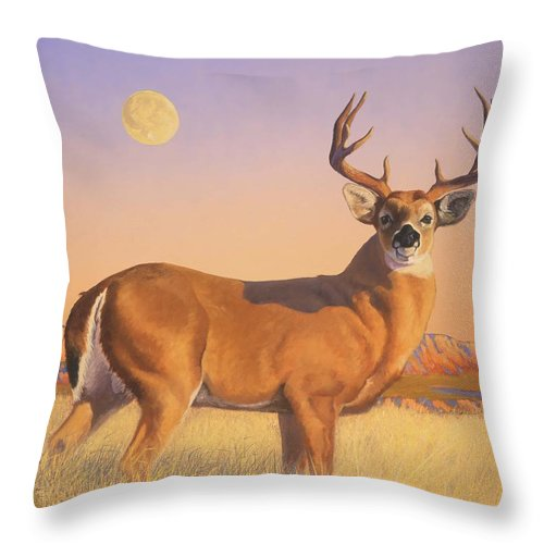Deer Throw Pillow featuring the painting The Stag by Howard Dubois