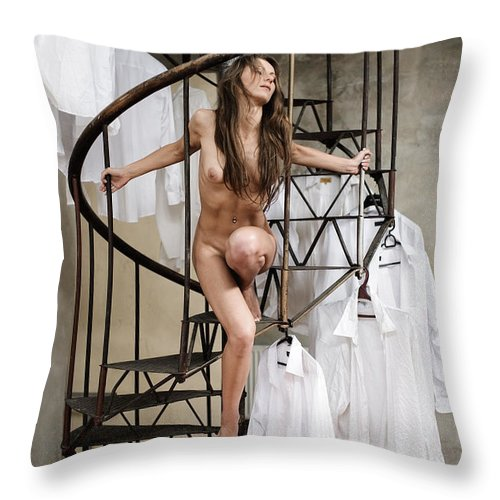 Sensual Throw Pillow featuring the photograph The Stairs by Olivier De Rycke