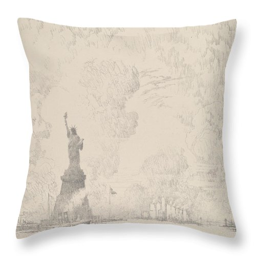 Joseph Pennell Throw Pillow featuring the drawing The Statue, New York Bay by Joseph Pennell