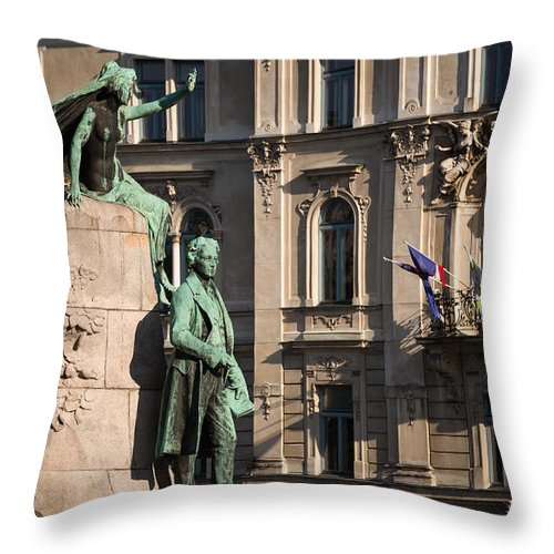 Archival Throw Pillow featuring the photograph The Statue Of France Preseren And His Muse by Blaz Gvajc