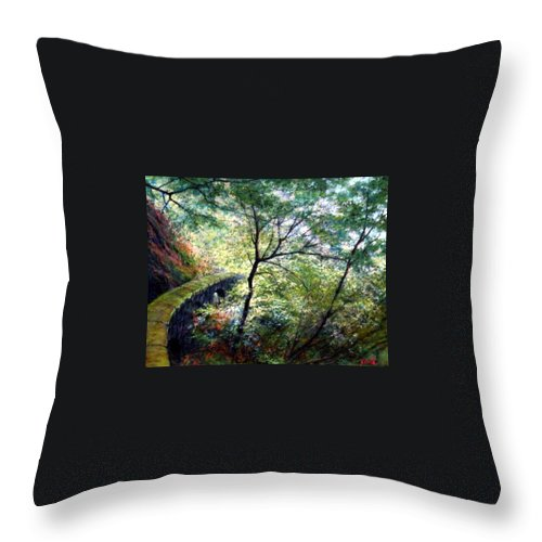 Pastel Throw Pillow featuring the painting The Stone Wall by Jim Gola
