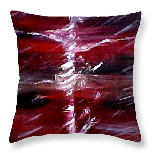 Abstract Throw Pillow featuring the painting The Storm by Inga Vereshchagina