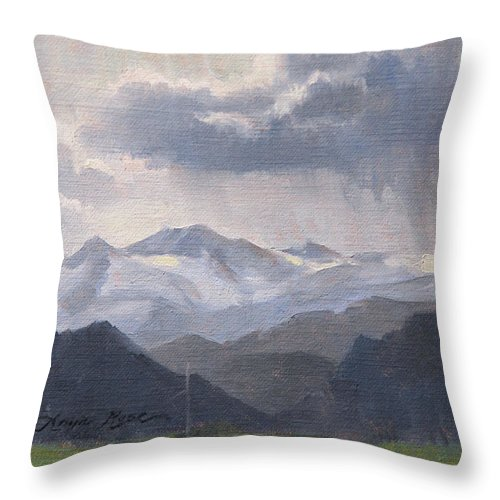 Plein Air Throw Pillow featuring the painting The Storms Beyond by Anna Rose Bain