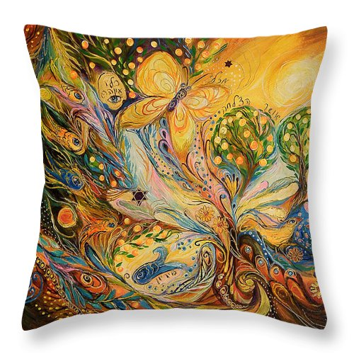 Original Throw Pillow featuring the painting The Story Of The Orange Garden by Elena Kotliarker