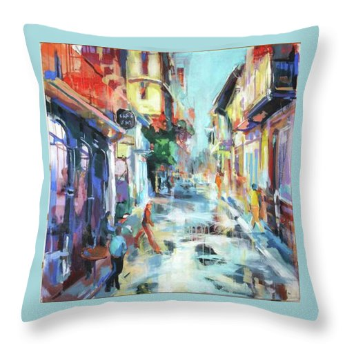 Cityscapes Throw Pillow featuring the painting The Street After Rain.. by Marija Ruzicic