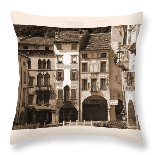 Landscape Throw Pillow featuring the photograph The Streets Of Vittorio Veneto by Donna Corless
