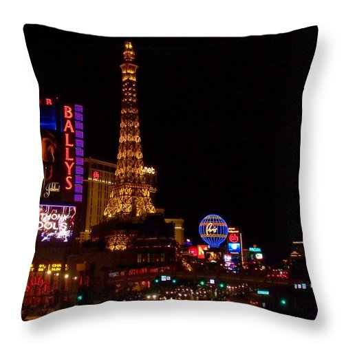 Vegas Throw Pillow featuring the photograph The Strip At Night 1 by Anita Burgermeister