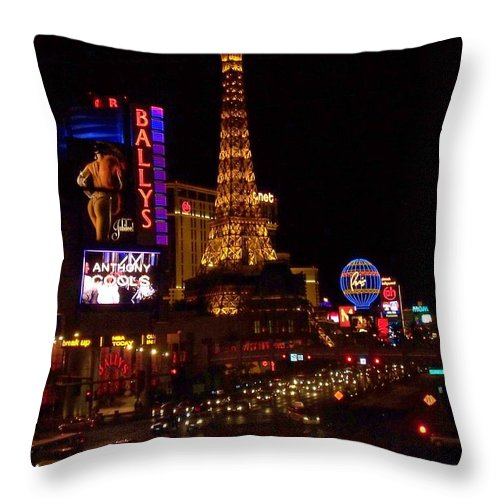 Vegas Throw Pillow featuring the photograph The Strip At Night 2 by Anita Burgermeister