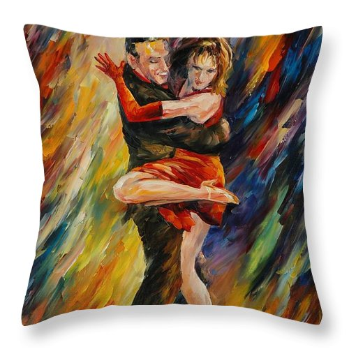 Dance Throw Pillow featuring the painting The Sublime Tango by Leonid Afremov