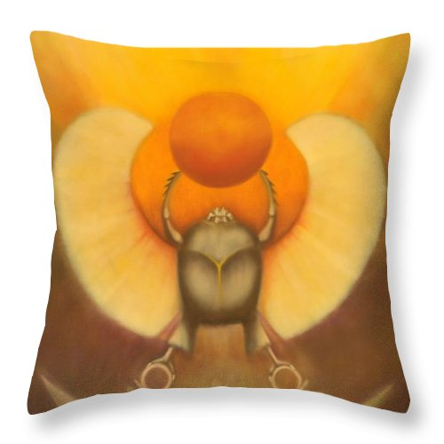 Wicca Prints Throw Pillow featuring the painting The Sun At Night by Roger Williamson