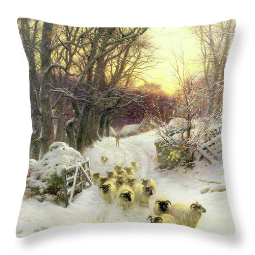 Sunset Throw Pillow featuring the painting The Sun Had Closed the Winter's Day by Joseph Farquharson