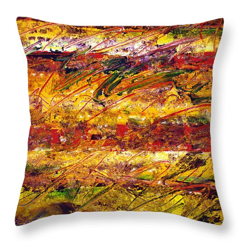 Abstract Throw Pillow featuring the painting The Sun Rose One Step At A Time by Wayne Potrafka