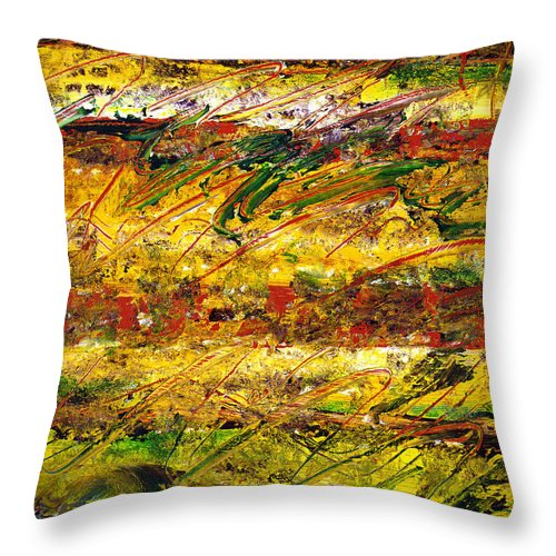 Abstract Throw Pillow featuring the painting The Sun Rose One Strip At A Time 1 by Wayne Potrafka