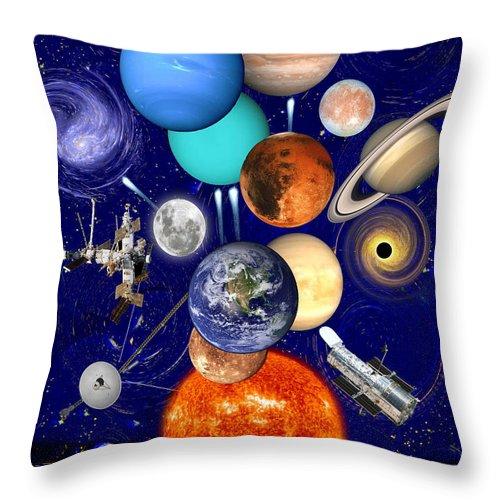 The Sunflower Solar System Throw Pillow featuring the drawing The Sunflower Solar System by Jose A Gonzalez Jr