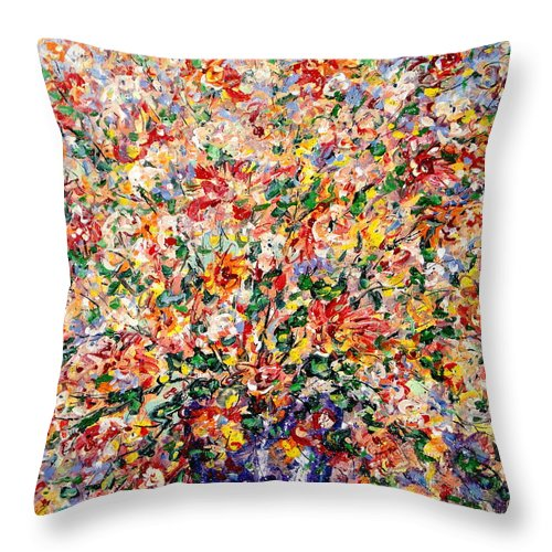 Flowers Throw Pillow featuring the painting The Sunlight Flowers by Leonard Holland