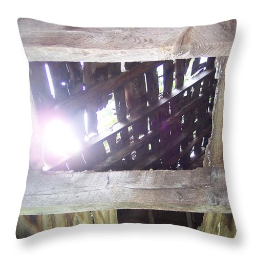Old Rustic Barn Antique Sun Throw Pillow featuring the photograph The Sunroof by Anna Villarreal Garbis