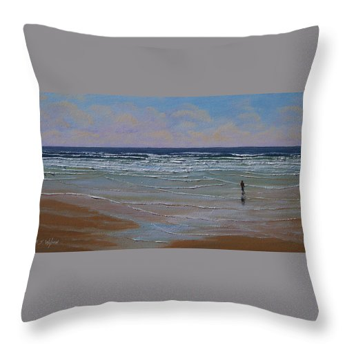 Seascape Throw Pillow featuring the painting The Surf Walker by Frank Wilson