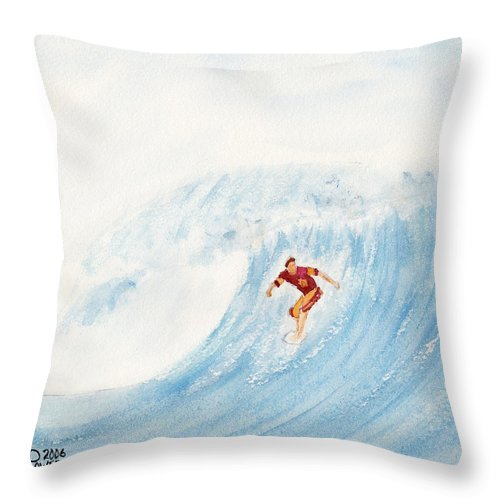 Surf Throw Pillow featuring the painting The Surfer by Ken Powers