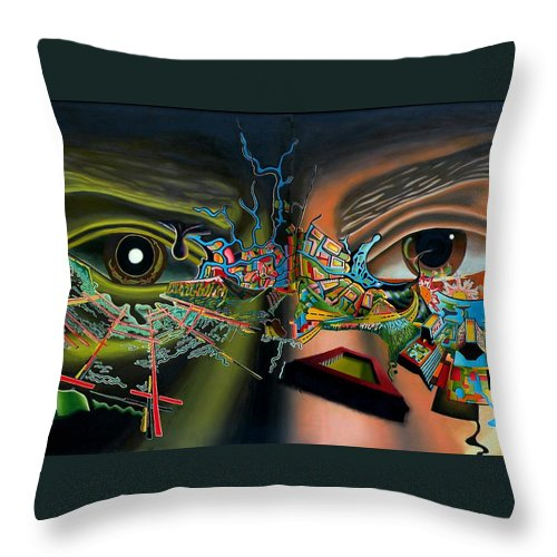 Surreal Throw Pillow featuring the painting The Surreal Bridge by Dave Martsolf