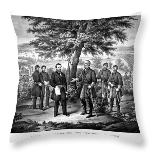 Civil War Throw Pillow featuring the mixed media The Surrender Of General Lee by War Is Hell Store