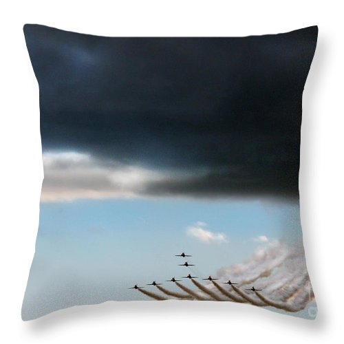 Red Arrows Throw Pillow featuring the photograph The Swan Formation by Angel Ciesniarska