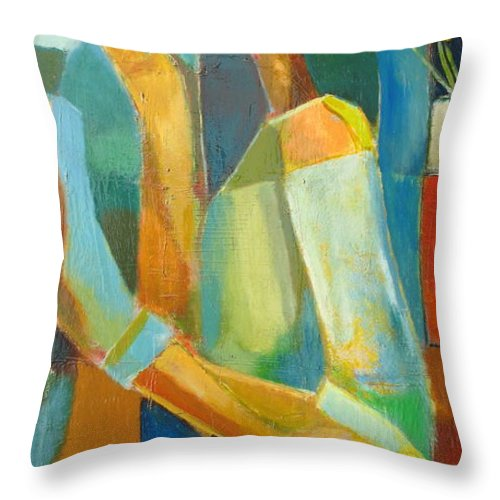 Love Abstract Throw Pillow featuring the painting The Sweet Kiss by Habib Ayat