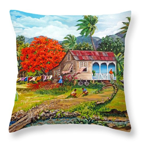 Tropical Scene Caribbean Scene Throw Pillow featuring the painting The Sweet Life by Karin Dawn Kelshall- Best