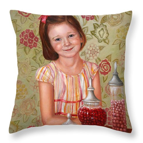 Children Portrait Throw Pillow featuring the painting The Sweet Sneak by Portraits By NC