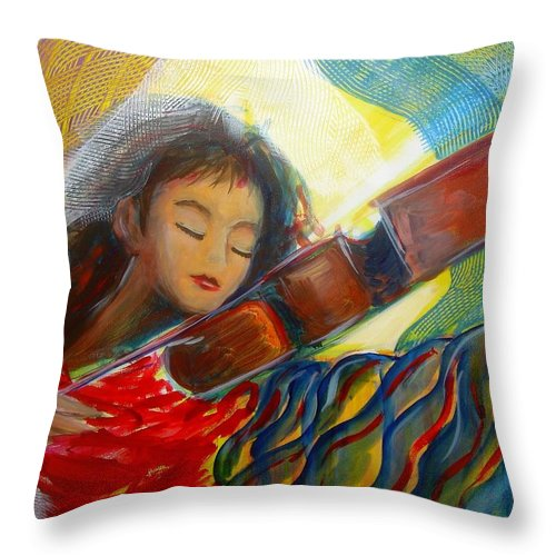 Violin Throw Pillow featuring the painting The Sweetest Sounds by Regina Walsh