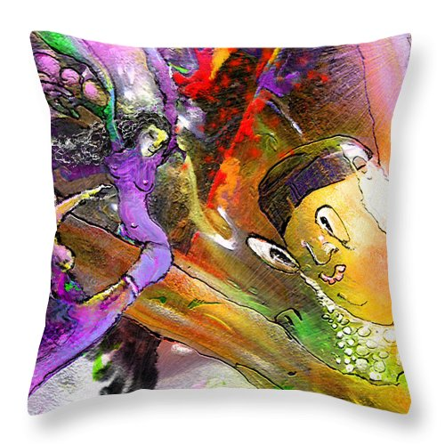 Fantasy Throw Pillow featuring the painting The Sweeties 02 by Miki De Goodaboom