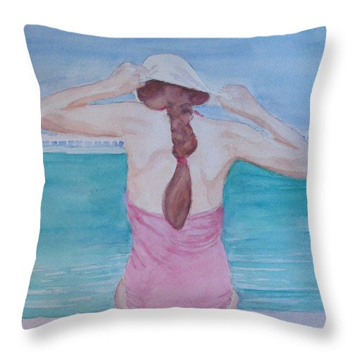 Girl Throw Pillow featuring the painting The Swim Cap by Jenny Armitage