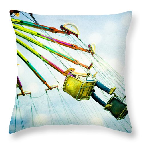 Carnival Throw Pillow featuring the photograph The Swings by Kim Fearheiley