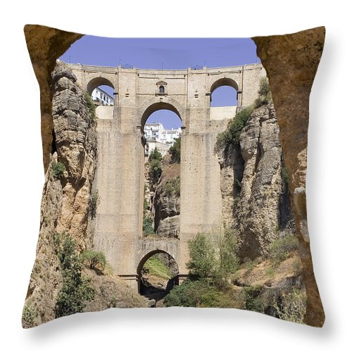 Ronda Throw Pillow featuring the photograph The Tajo De Ronda And Puente Nuevo Bridge Andalucia Spain Europe by Mal Bray