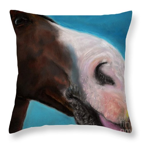 Abstract Horses Throw Pillow featuring the painting The Tasty Post by Frances Marino