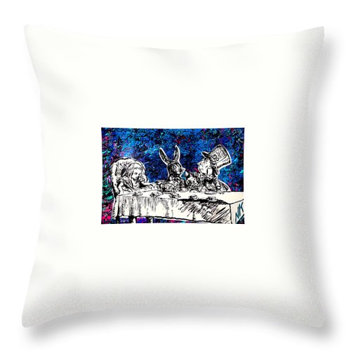 Throw Pillow featuring the painting The Tea Party by Nevets Killjoy
