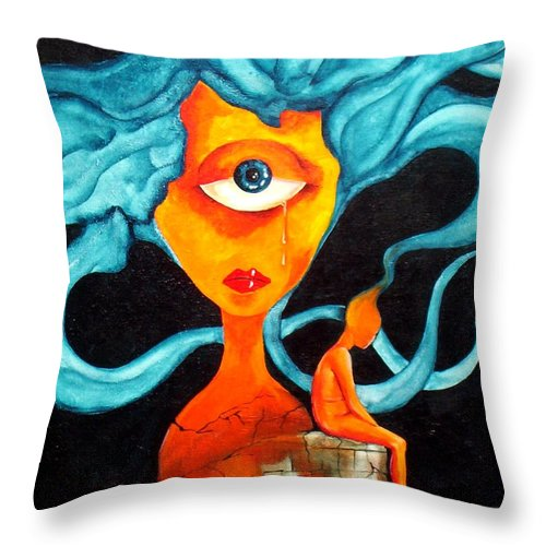 Surrealism Throw Pillow featuring the painting The Tear by Veronica Jackson