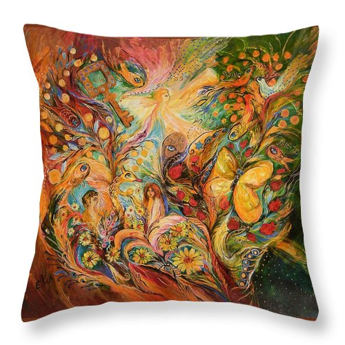 Original Throw Pillow featuring the painting The Temptation Of Adam by Elena Kotliarker
