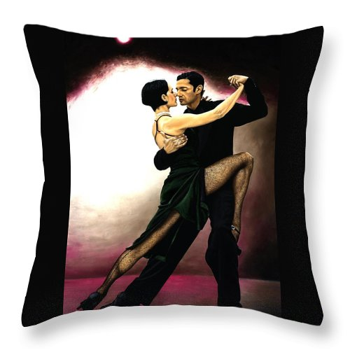 Tango Throw Pillow featuring the painting The Temptation of Tango by Richard Young