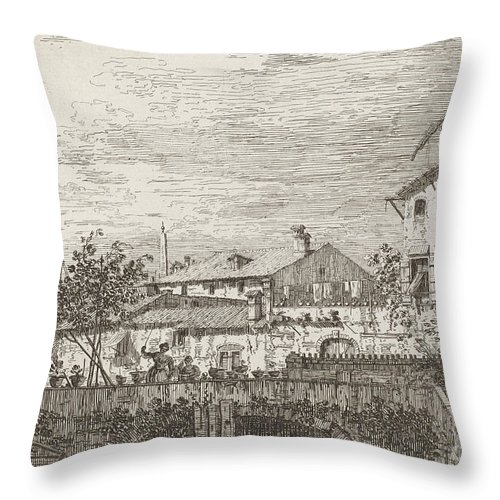 Throw Pillow featuring the drawing The Terrace [lower Right] by Canaletto
