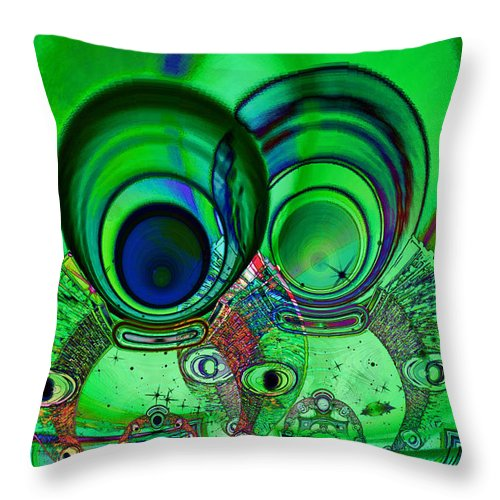 Abstract Throw Pillow featuring the digital art The Terrible Twos by Wendy J St Christopher